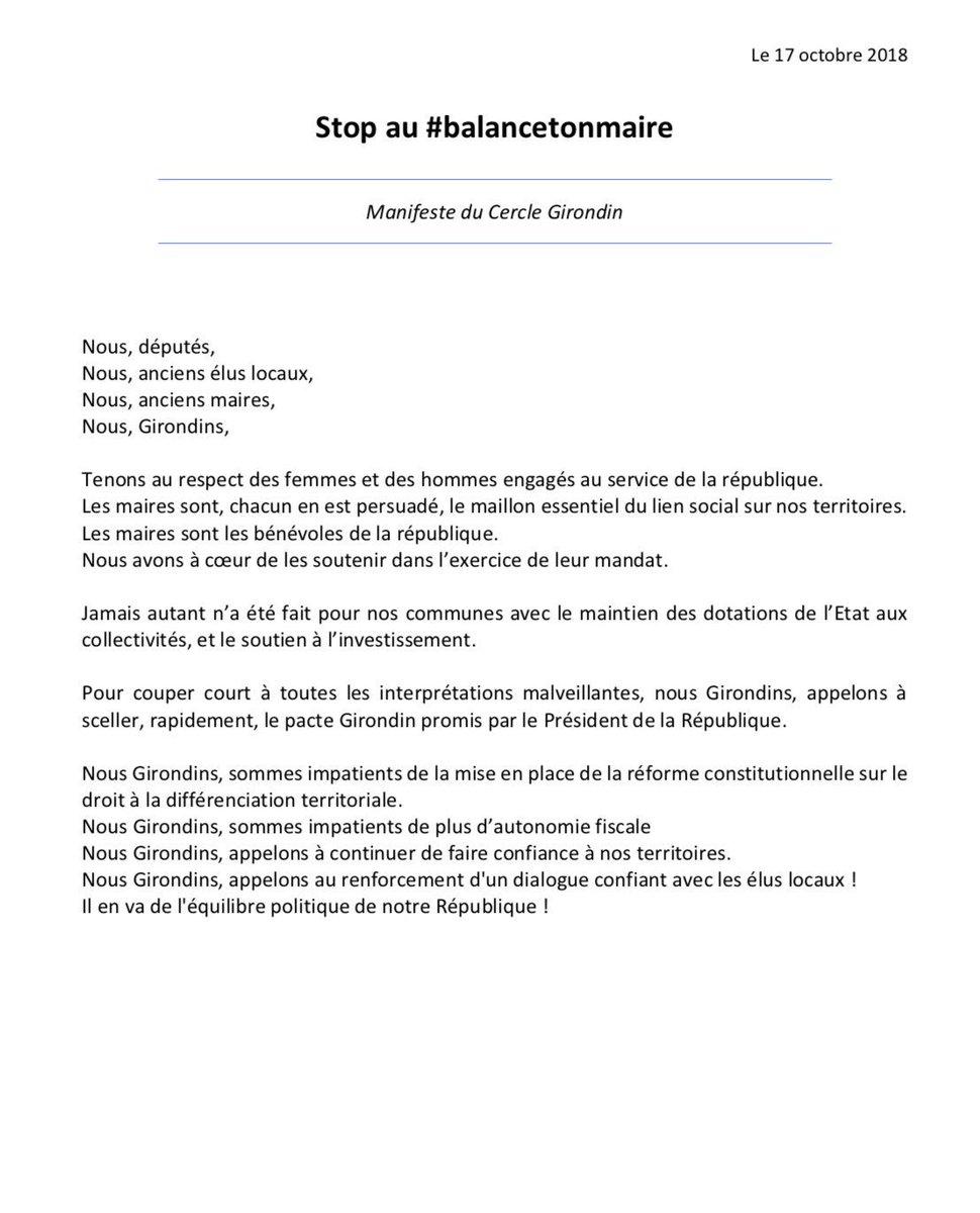 STOP au #BalanceTonMaire «Nous, anciens élus locaux tenons au respect des femmes & des hommes engagés au service de la République et appelons à sceller rapidement le #PacteGirondin promis par @EmmanuelMacron»@Sempastoushp  - FestivalFocus
