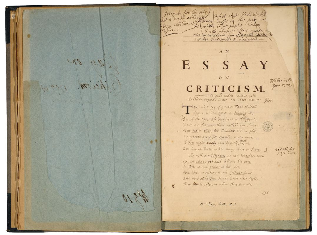 The bodleian libraries on twitter pope wrote an essay on criticism
