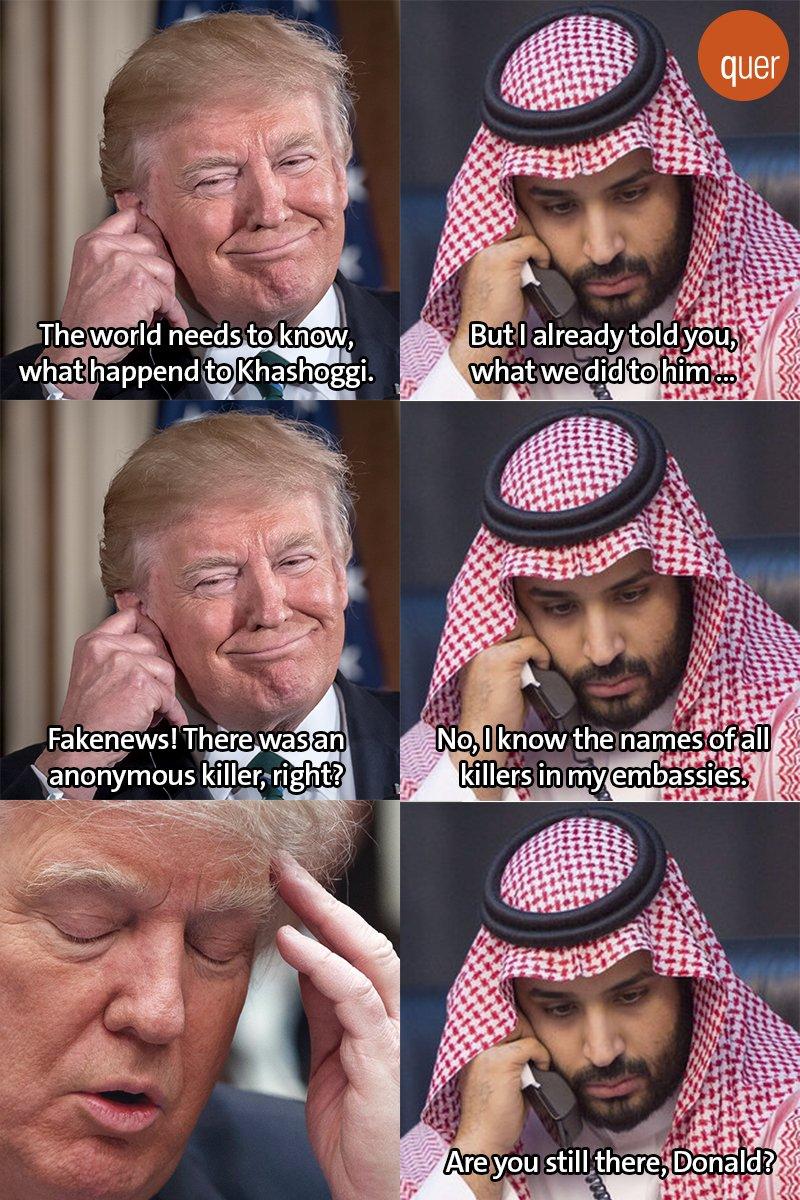 #Trump gibt sich wirklich Mühe mit Saudi-Arabien. #SaudiArabien #Khashoggi #Kashoggi #USA
