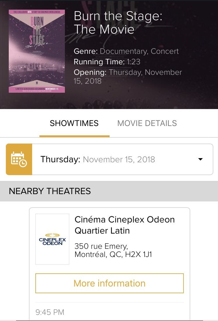@Canada_BTS #MontrealARMY tickets for #BurnTheStageTheMovie is live at the @CineplexMovies app. One night engagement only for Nov. 15.. get your tix<br>http://pic.twitter.com/Dta5IwNHPu