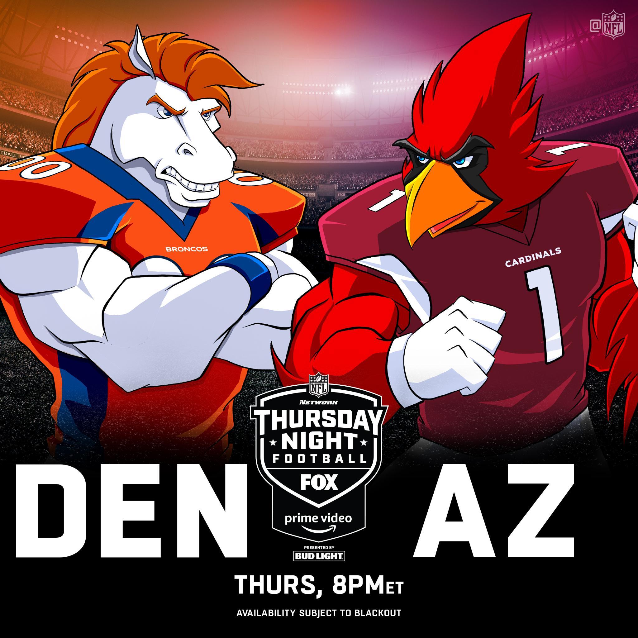 #BroncosCountry #BeRedSeeRed TONIGHT (8pm ET) on #TNF! #DENvsAZ  ��: @nflnetwork   @NFLonFOX   @PrimeVideo https://t.co/UdCVzIYaIH