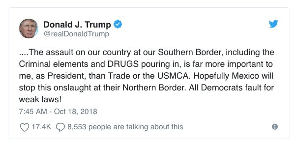 Trump threatens to close Mexican border to stop migrants https://t.co/YTYYmqxZ7m