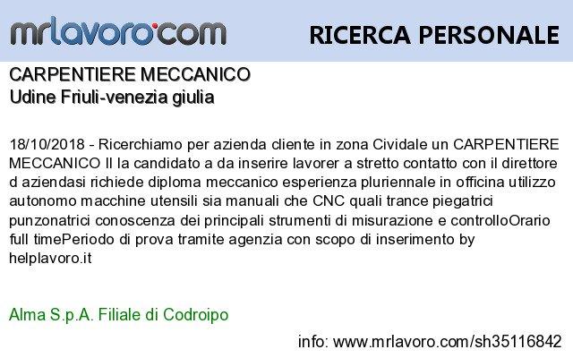 Mrlavoro Com On Twitter Nuove Offerte Di Lavoro Udine