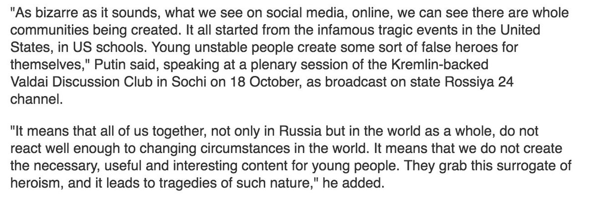 President Putin says yesterday's massacre at a college in Crimea is a 'result of globalisation'.