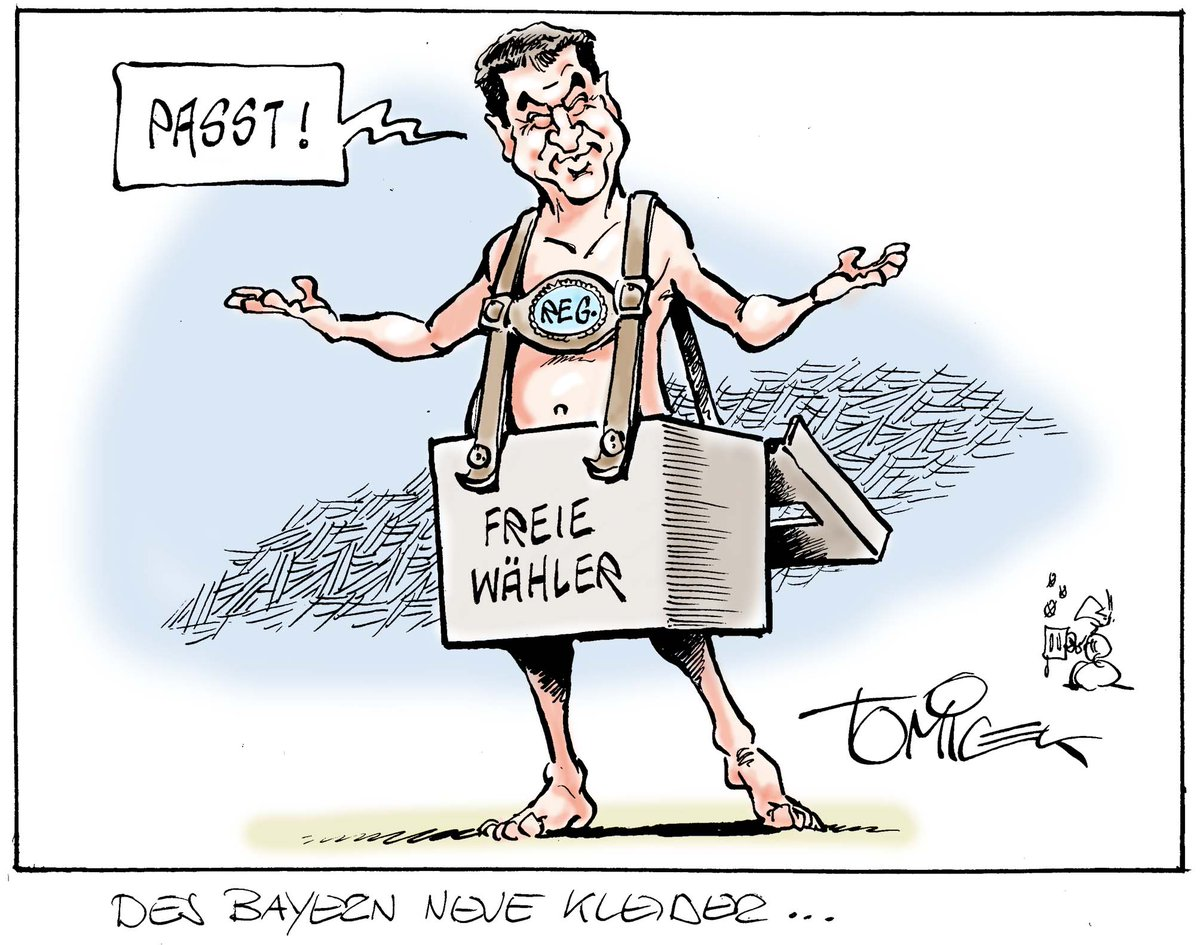 """Löwe Wasserburg no Twitter: """"#Söder und sein neues Regierungs-Outfit! Aus  #FREIEWÄHLER wird die #CSU das #FREIE schon solange weichspülen, bis die  bayerische Lederhose wieder passt. 😉 (Karikatur Tomicek)…  https://t.co/KiN4to09Ul"""""""