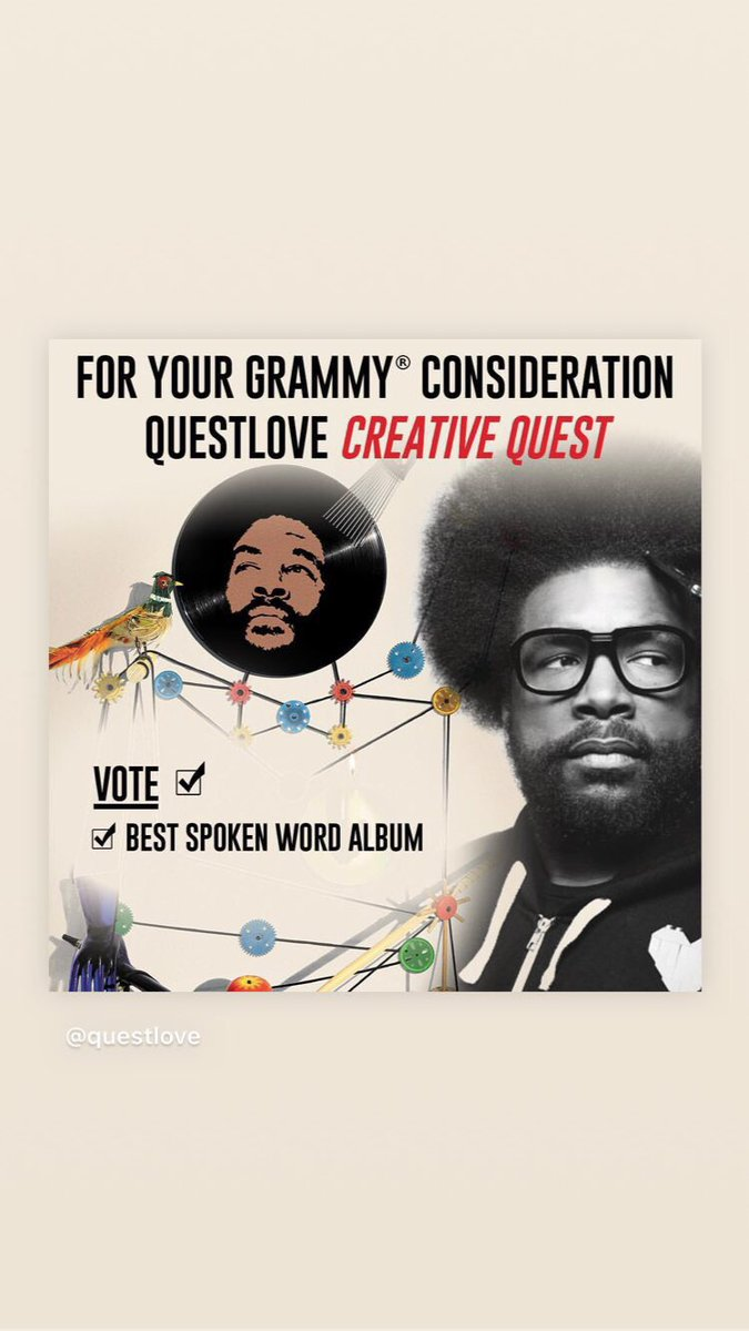 Dear Grammy Voters,  FOR YOUR CONSIDERATION: CREATIVE QUEST by QUESTLOVE. BEST SPOKEN WORD ALBUM.  It is a masterpiece.  Listen, enjoy, vote! #grammys #grammys2018 #questlove #audiobooks @questlove<br>http://pic.twitter.com/ml0I7DzETX &ndash; à Electric Lady Studios