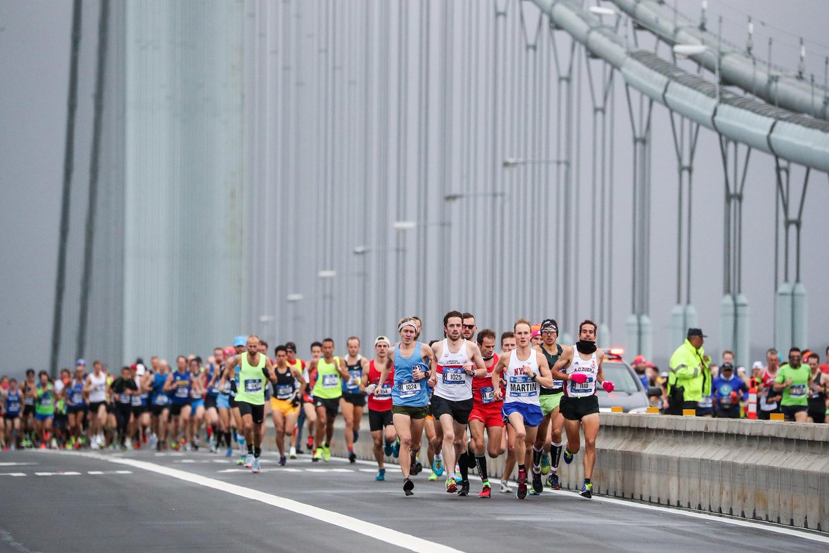 #TBT to the pros leading the mass of runners over the Verrazzano Bridge at last years #TCSNYCMarathon. Whos ready to take on the bridges of NYC this year?!