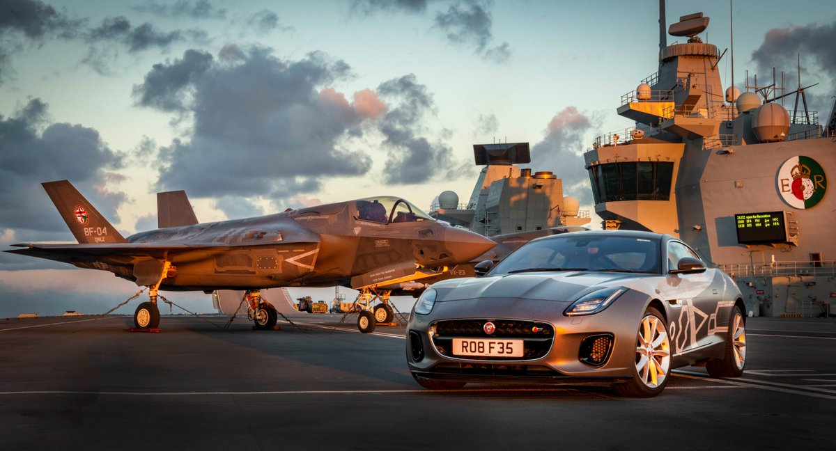 Wow, @HMSQnlz. What a pairing, @Jaguar. Air dominance meets road dominance. #F35onDeck<br>http://pic.twitter.com/KaonUMexvo