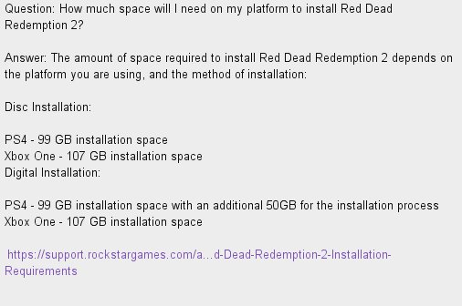 Resetera Nt On Twitter Red Dead Redemption 2 Ps4 99 Gb 150 Gb
