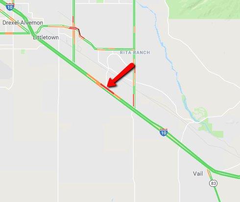 I-10 westbound at Rita Road: A crash is blocking the left lane. #Tucson