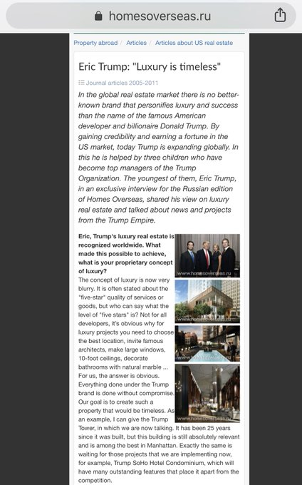 """BREAKING: I found this interview Eric Trump did in a Russian magazine where he says hotel sales """"very much count on the good demand from the bulk of lot are Russians."""" """"We are also engaged in active negotiations related to our likely activities in Russia."""" Photo"""
