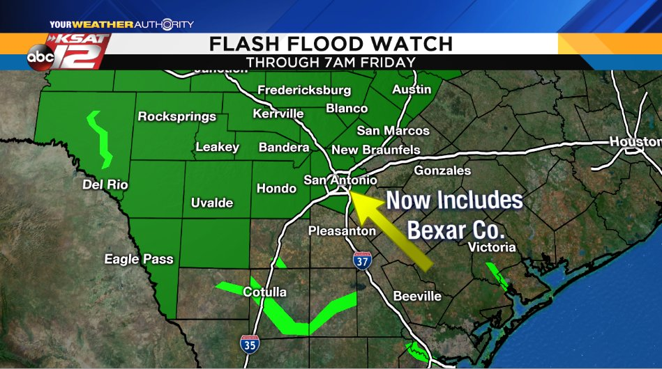 Here&#39;s a stat for you: 60% of the rain that has fallen this year in SA, has occurred in the months Sept. and Oct.   More good chances of rain are on the way this PM and tomorrow. As a result, the Flash Flood Watch has been extended into Fri and now includes Bexar Co. #ksatwx<br>http://pic.twitter.com/2X7Y7EKk46