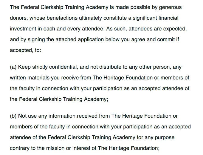 """Unnamed donors, sitting judges, secrecy pledges and loyalty oaths at Heritage Foundation """"training academy"""" for law clerks.  After questions from The Times, the passages below were deleted from the application materials.   https://t.co/VKabsCzrEw"""