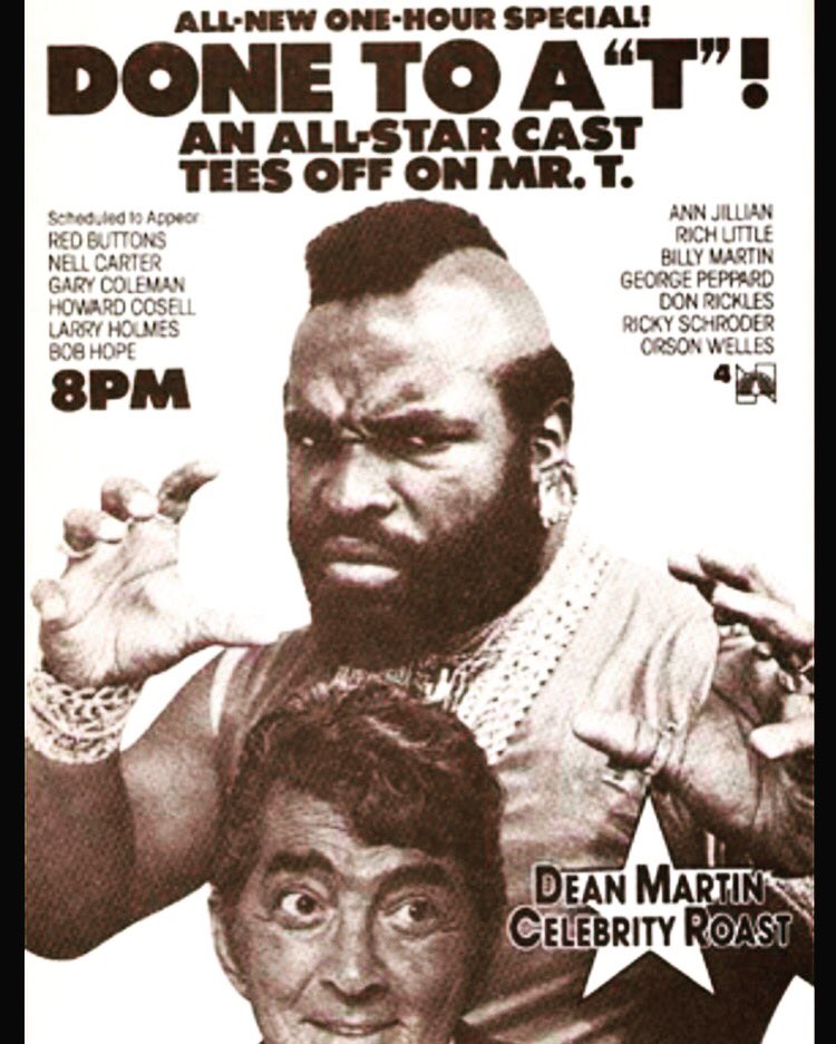 "test Twitter Media - Done To A ""T""! Hosted by Dean Martin Celebrity Roast. Wow, that was a great time. #ThrowbackThursday #IPityTheFool #DontMakeMeMad #HistoryWasMade #DeanMartin #Hollywood https://t.co/BAKhLjolIN"