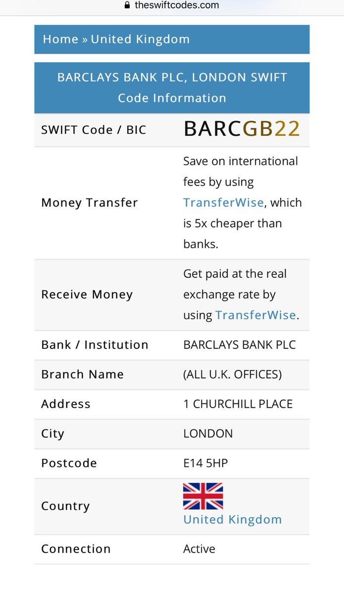 barclays bank cambridge uk swift code
