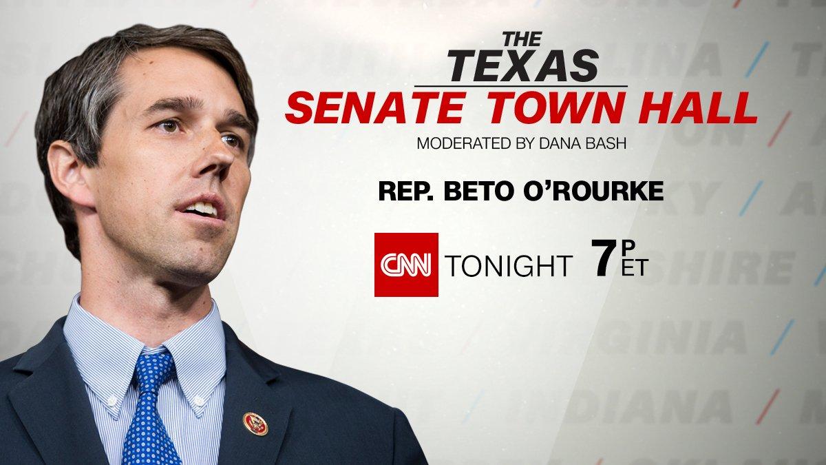 Tonight at 7p ET/6p CT, @DanaBashCNN moderates #TexasTownHall with Senate hopeful Rep. Beto O'Rourke https://t.co/HToqquzZ6t