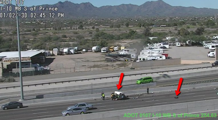 I-10 eastbound at Prince: A crash is blocking the right lanes. #Tucson