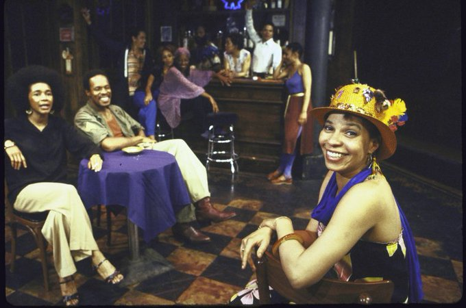 Happy birthday to Ntozake Shange, here w/ cast of her SPELL 1979. Pic Martha Swope, via
