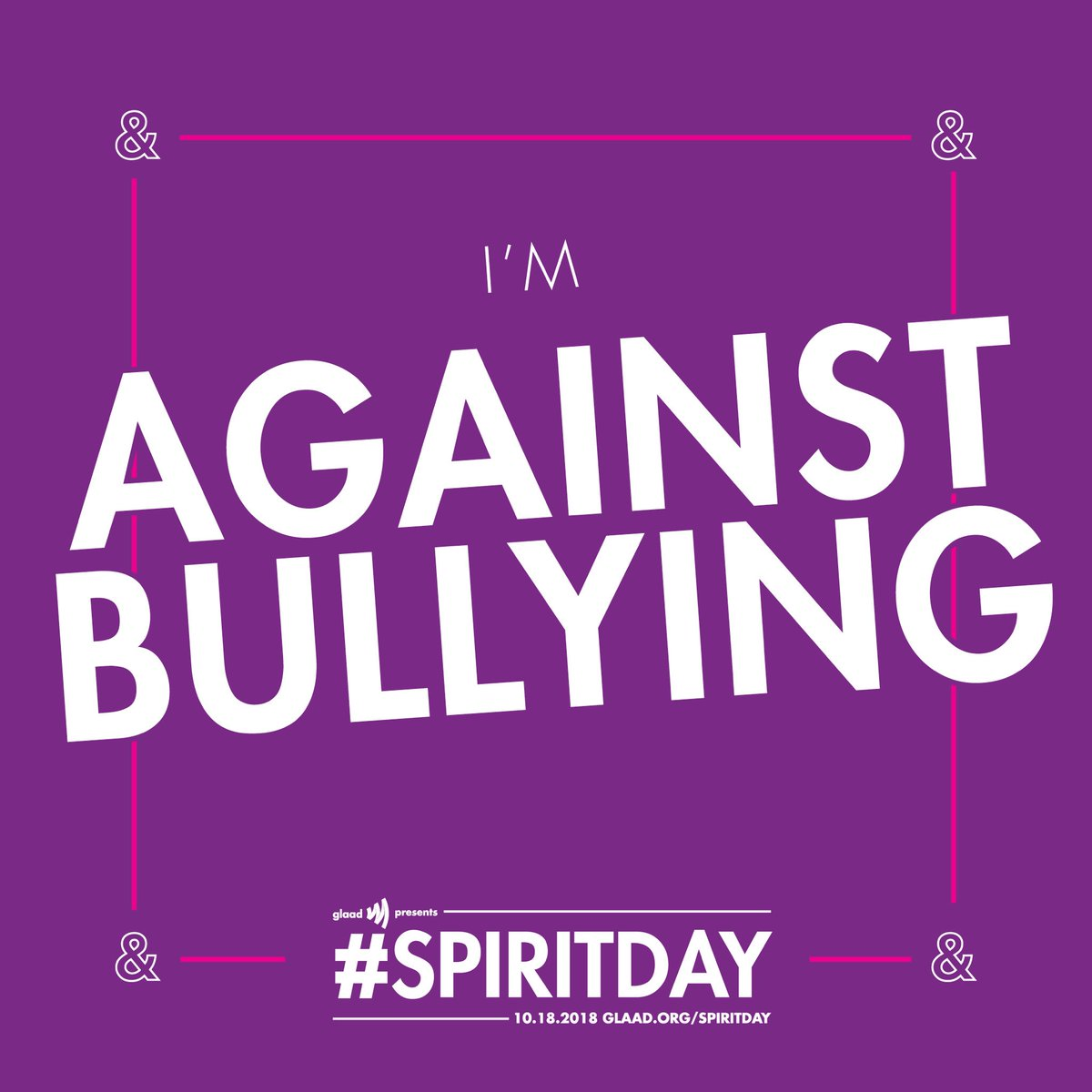 Today is @glaad #SpiritDay! Let's show our support for LGBTQ youth and stand up against bullying! Take the pledge to go purple 💜 https://t.co/tAUMYH3gIl