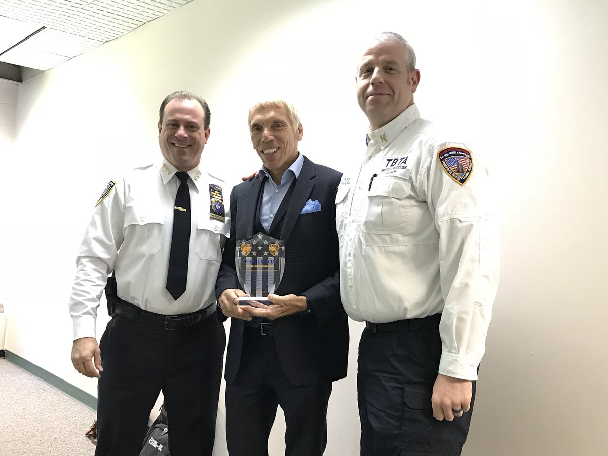 At the #TCSNYCMarathon start agency planning meeting today in Staten Island, the Special Operations Divison of the TBTA at the Verrazzano-Narrows Bridge recognized Race Director @peter_ciaccia for his year's of partnership just weeks before his retirement after the marathon.