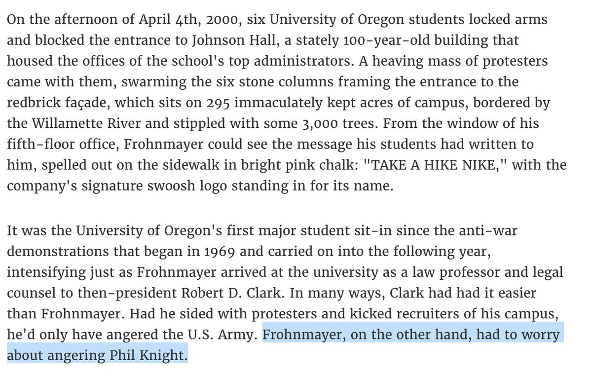 2a1becfe0 ... and come to call the shots there: https://psmag.com/education/the-secret -betrayal-that-sealed-nikes-special-influence-over-the-university-of-oregon  … ...