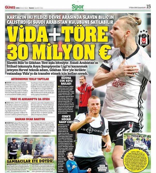 """صحيفة """"Gunes"""" التركيةنادي بيشكتاش يمكن أن يبيع """"دوماغوي فيدا و غوكهان توري"""""""