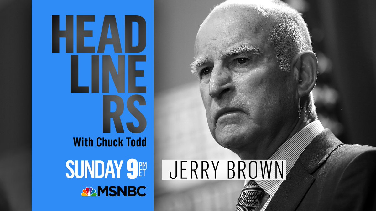 """""""Trump says global warming is a hoax. I say Trump is a fraud."""" California Gov. Jerry Brown has made it his mission to fight President Trump on climate change. Watch what drives him in 'Headliners' Sunday with @chucktodd at 9 p.m. ET on @MSNBC."""
