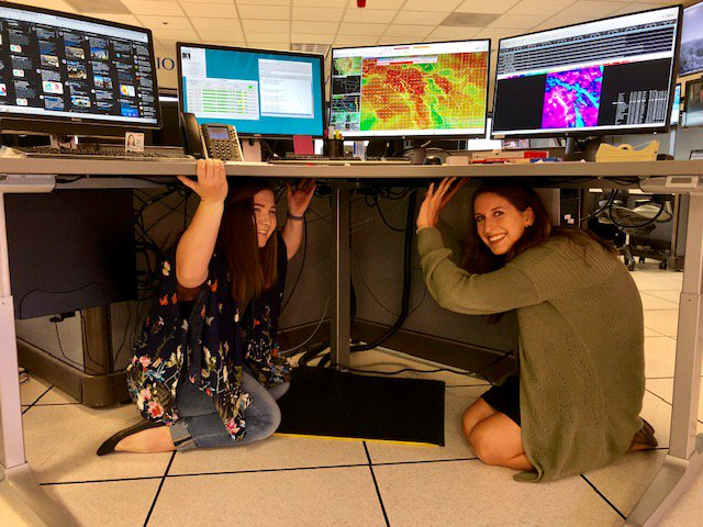 Meteorologists at NWS San Diego taking cover in the Great ShakeOut Exercise this morning #ShakeOut2018 #cawx