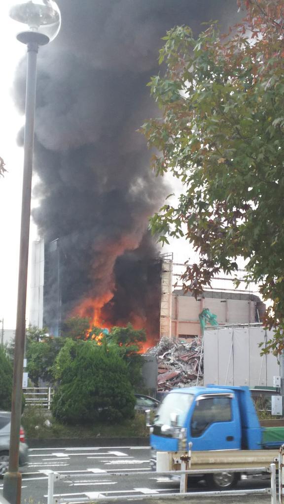 岡山市南区妹尾で火事の現場画像