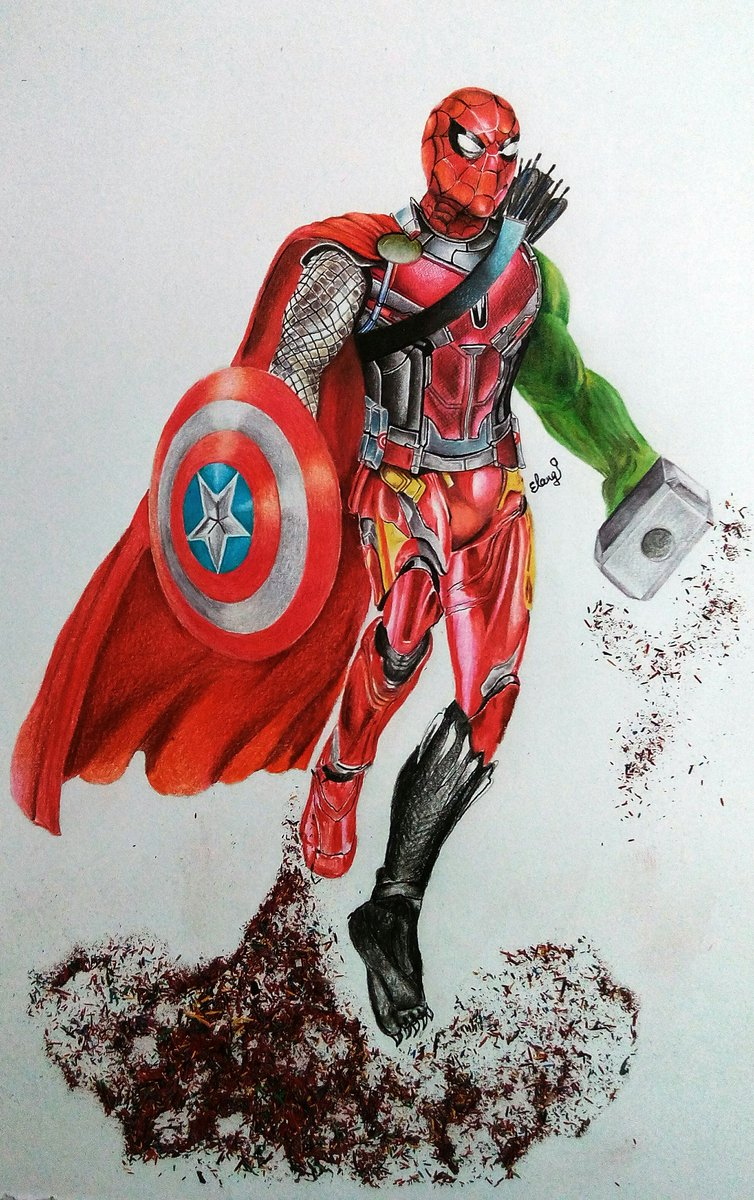 Elango on twitter color pencil drawing marvel ironman