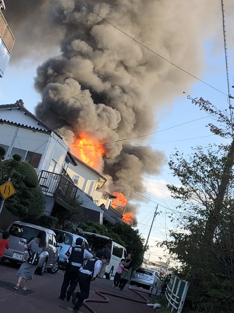 東海市名和町で火事が起きている現場画像