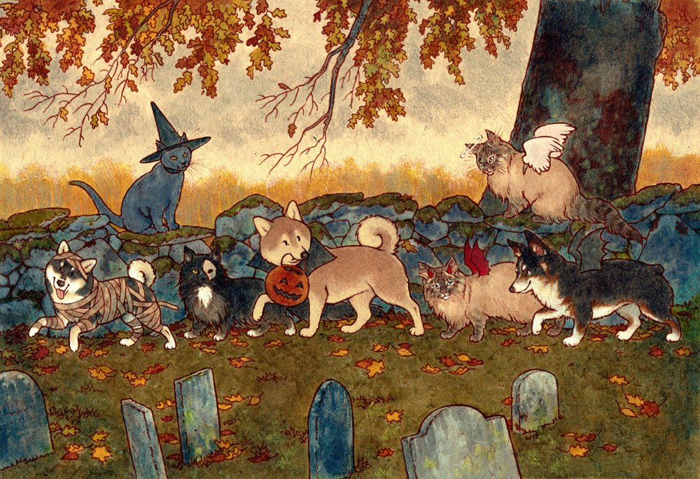 Wishing everyone a happy and safe Halloween!! Art of our pets by @truffke