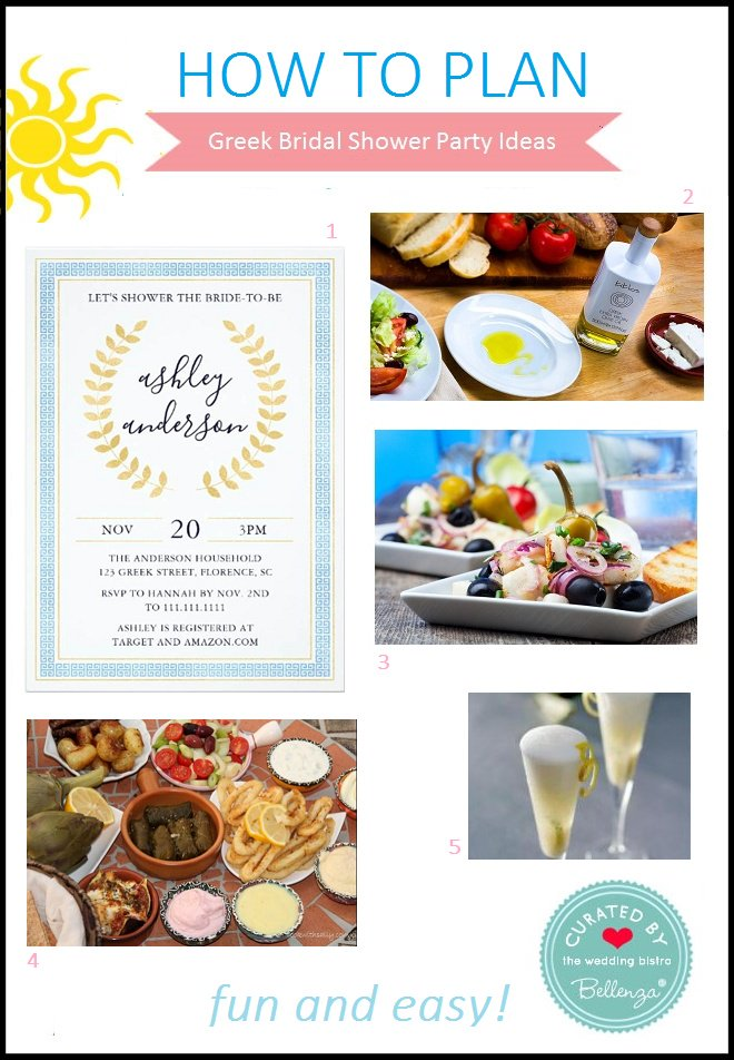 go for a greek themed bridal shower and get the chance to serve famed grecian appetizers dishes desserts and drinks httpsgooglw9p5n9