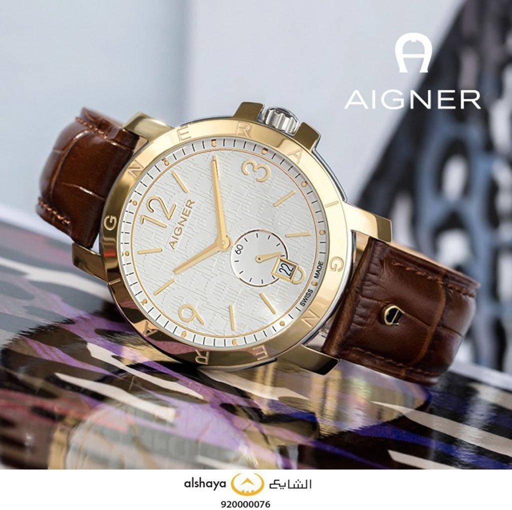fe78da80618be ... لك ساعة من مجموعة AIGNER صنعت من أجل محبي  الأناقة ، سير من الجلد  الطبيعي و حواف بلون الذهب صممت لتكن ساعتك المفضلة بكل لحظة .