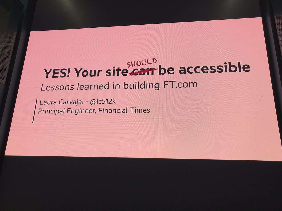 """Accesibility doesn't just happen, YOU have to make it happen.""  The fantastic @lc512k is talking to us about making our sites accessible."