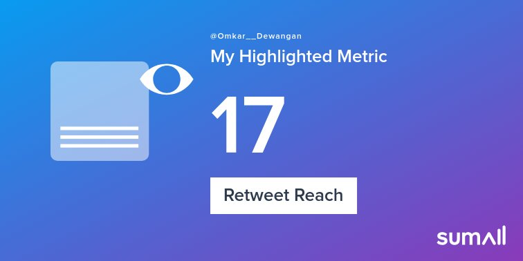 My week on Twitter 🎉: 1 Like, 1 Retweet, 17 Retweet Reach. See yours with sumall.com/performancetwe…