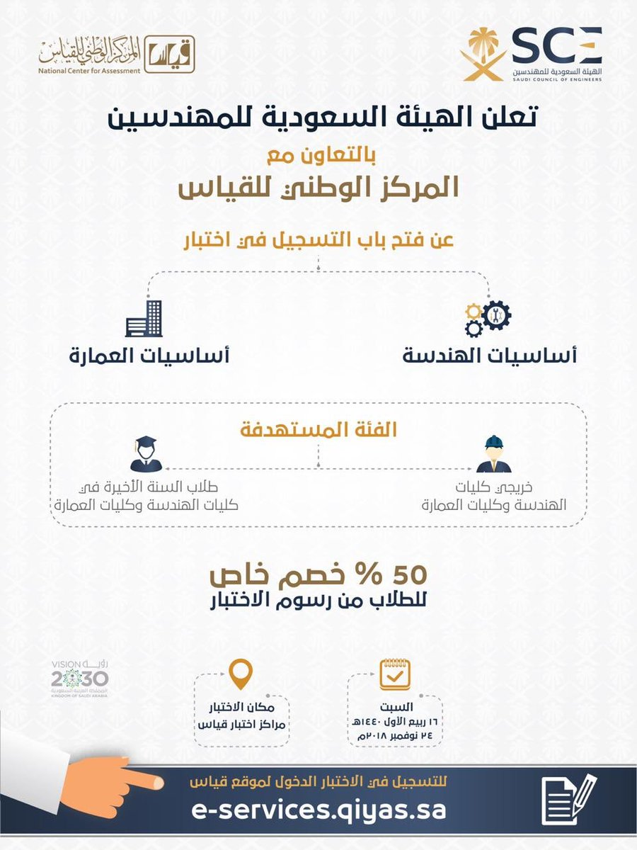 الهيئة السعودية للمهندسين On Twitter تعلن الهيئة السعودية للمهندسين بالتعاون مع المركز الوطني للقياس عن بدء التسجيل في اختبار أساسيات الهندسة واختبار أساسيات العمارة وذلك عبر الدخول على موقع قياس Https T Co 961gbyc1xp Https T Co Cmaoielp1v