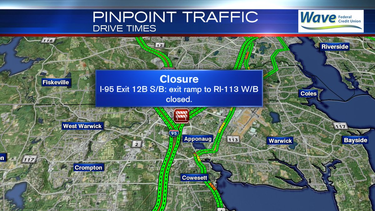 Warwick **TRAFFIC ALERT** Exit 12B ramp off 95 South to RI-113