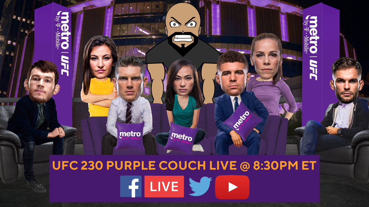 HAPPY HALLOWEEN! Join me and these awesome fighters for the #UFC230 @MetroByTMobile Purple Couch LIVE Saturday @ 8:30PM ET! I'll be asking you trivia questions throughout the show! Answer them using #MetroContest and you could win a prize! See you then, fight fans!