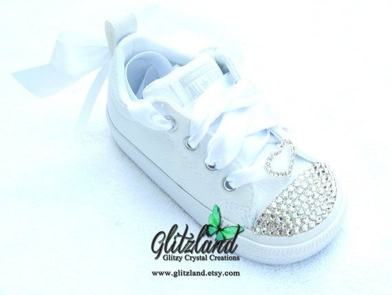 5ed40505ec63 Swarovski Converse Baby Infant Toddler Kids Chuck Taylor Street Slip  Leather Sneakers Blinged with SWAROVSKI® Crystals  ConverseInfant   InfantWeddingShoes ...