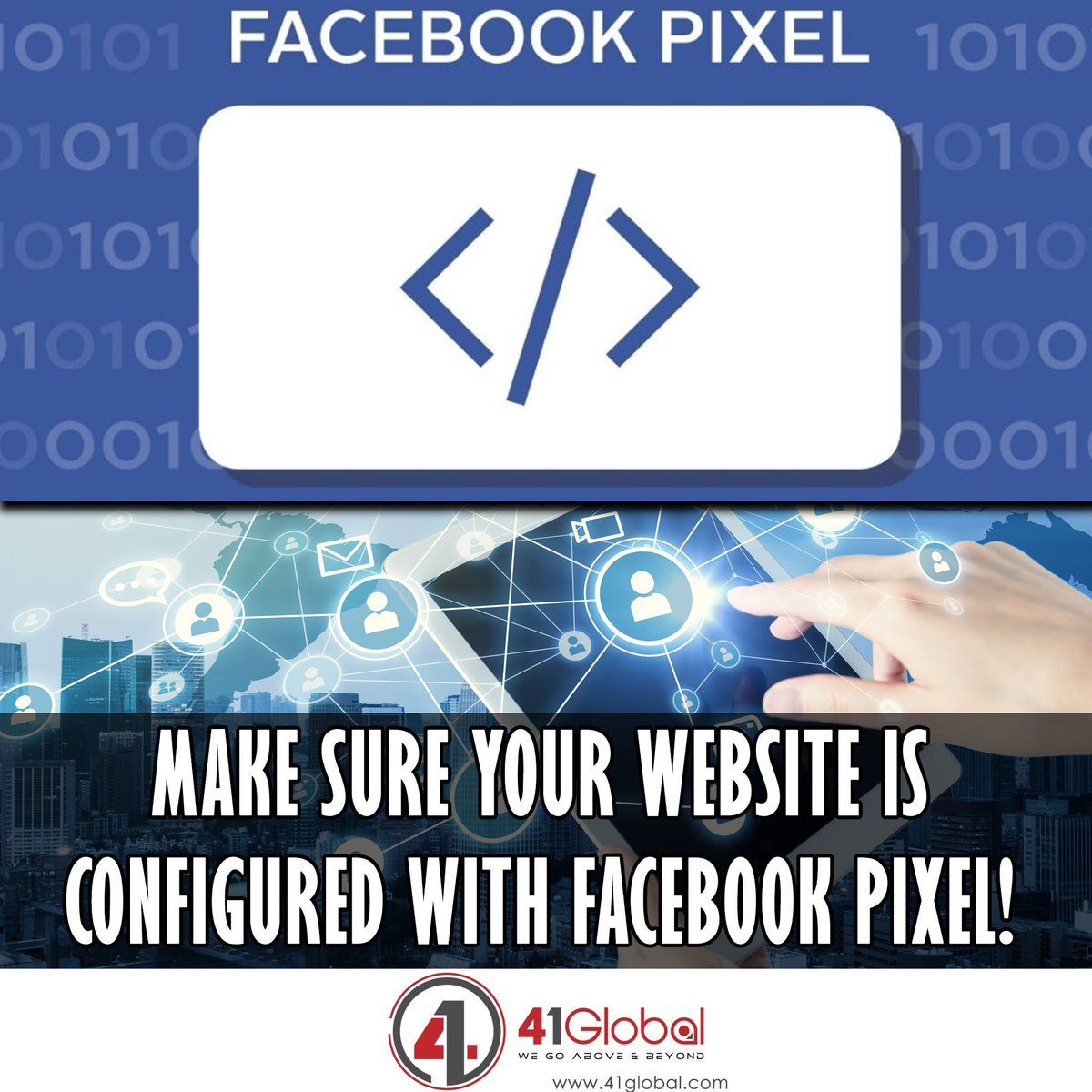Have you added the #Facbook Pixel to your website yet?  Adding the pixel to your website allows you to easily track visitors that visit your website and also retarget those same users for future ads.  DM us today to confirm your pixel is setup correctly. 😀😉 #41Global #marketing