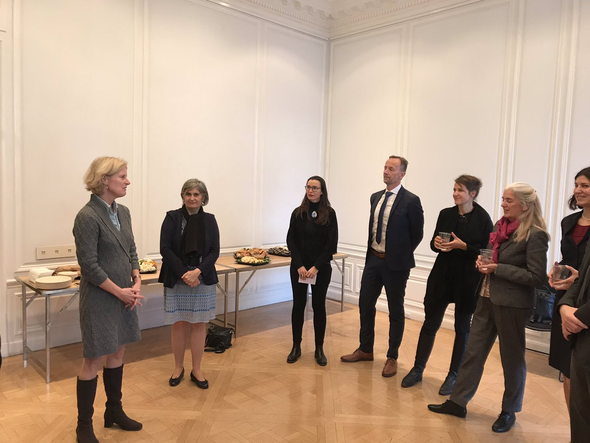 Katja Wiesbrock introduces the work of the #gany German Academy New York and the historic building 1014 5th Ave. Guests of honor: delegates from #NRW science and arts.   @DAADnewyork @uniallianz https://t.co/z49chHmLDk