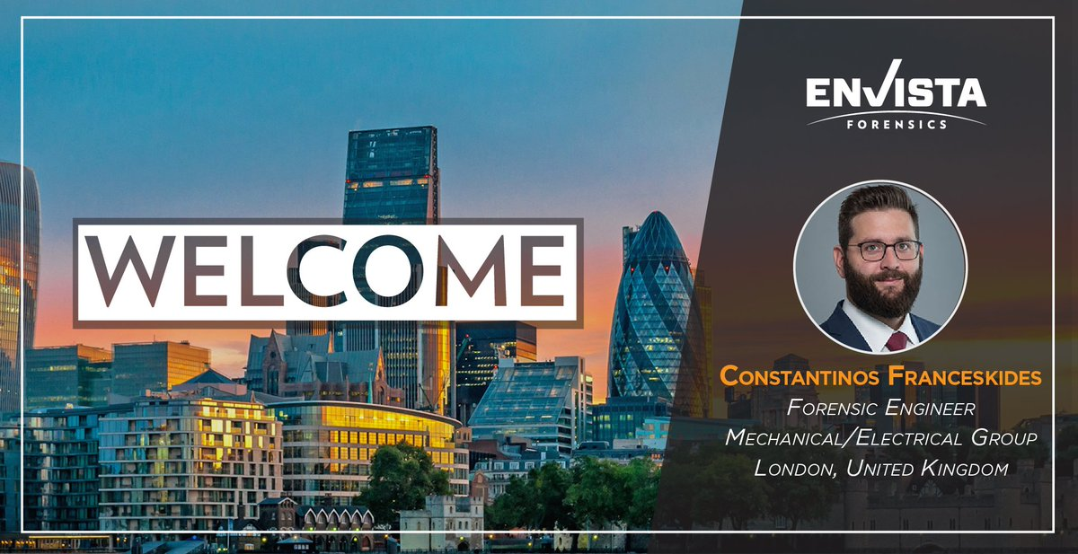 Envista Forensics On Twitter We Re Delighted To Welcome Mechanical Engineer Constantinos Franceskides To The Envista Family As A Forensic Engineer Based In London He Will Provide Valuation Damage Assessment And Failure Analysis