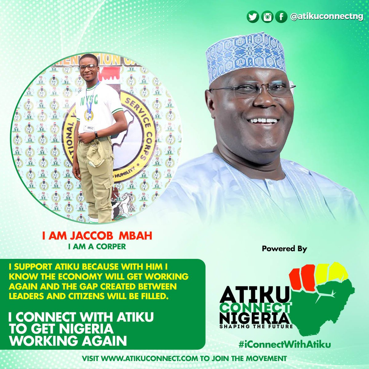 I support @Atiku because with him i know the economy will get working again and the gap created between  leaders and citizens will be filled. #iConnectWithAtiku to Get Nigeria Working  #AtikuConnect #AtikuConnectNigeria #AtikuObi2019 @YouthsForAtiku @SpokesManAtiku <br>http://pic.twitter.com/7kIBkMAM2V
