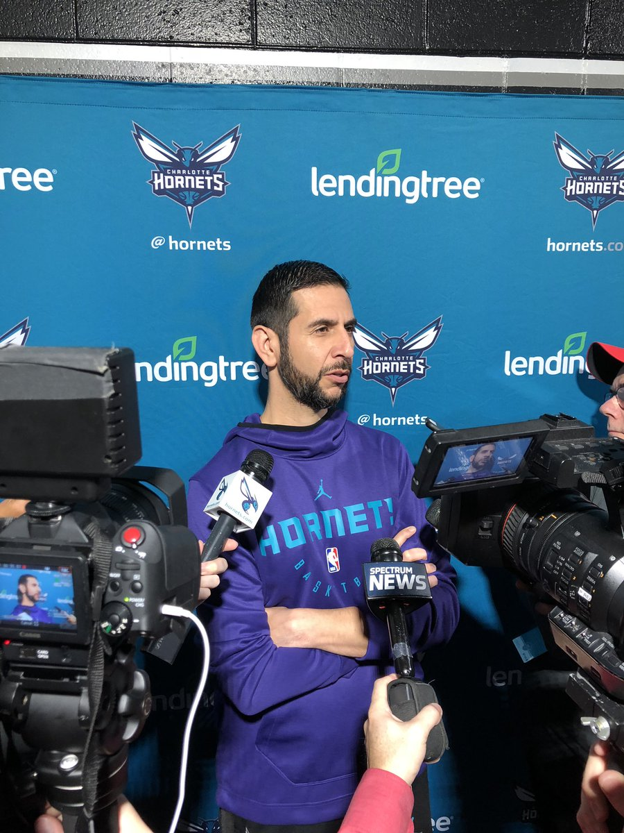 """Coach Borrego on @tonyparker: """"I gave him a vision here and exceeded all expectations. The credit belongs to him. He's a humble spirit who wants to win. It's a luxury to have him come off the bench."""" #Hornets30"""