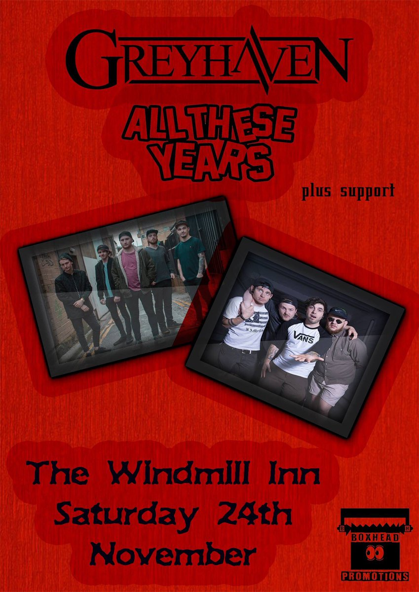 Last show of the year.  Saturday 24th November  ASHFORD The Windmill Inn  @alltheseyearsuk plus support