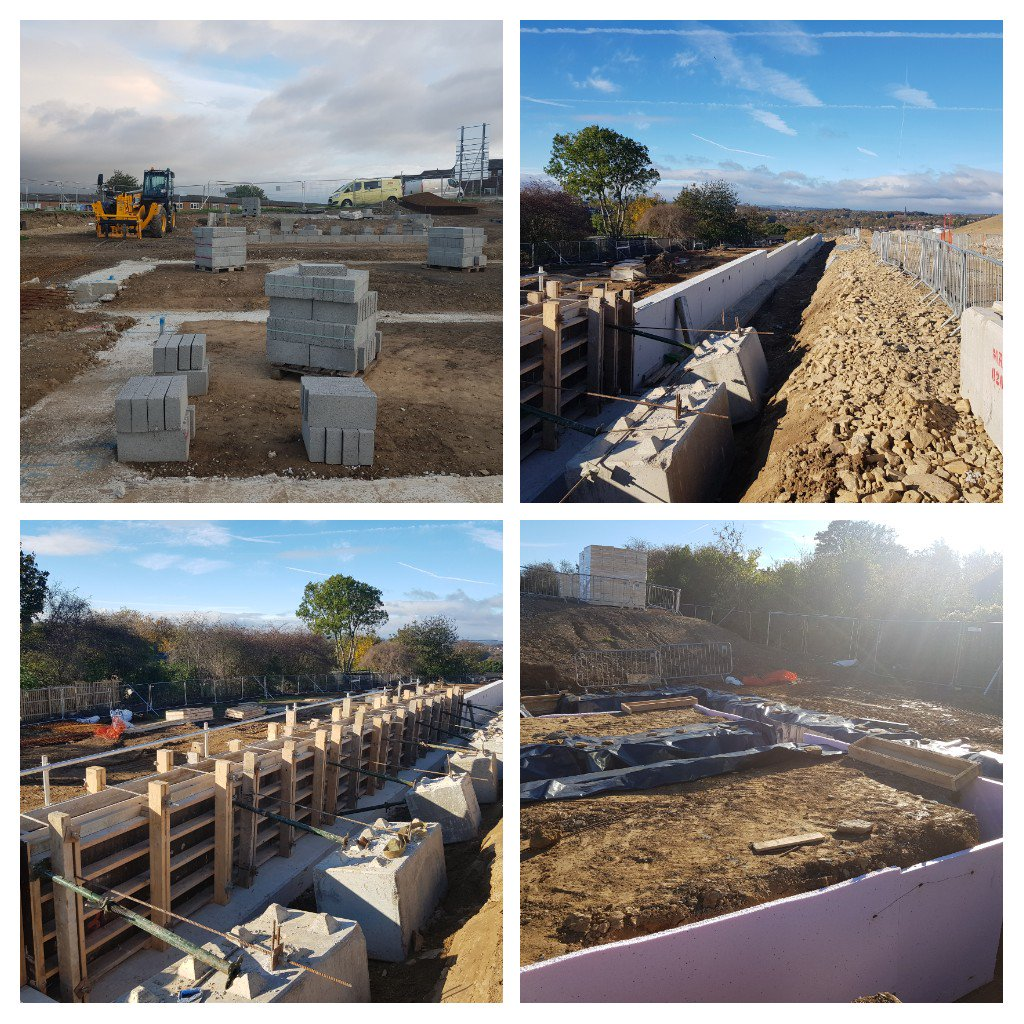 Beckhill Social Housing scheme in Leeds is progressing well for  @esh_group the main retaining wall is nearly complete #groundworks
