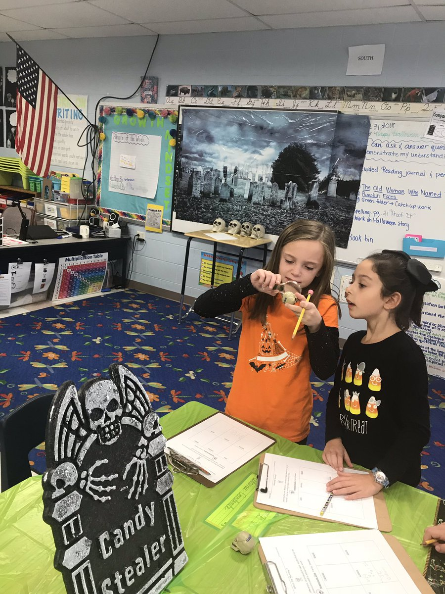 "It was a busy Halloween in room 10! These detectives worked in a cemetery to ""decompose"" equations in order to locate the ""mummy"" skull for each baby skull. Then, they used arrays and equal groups to determine the number of seeds in a pumpkin."