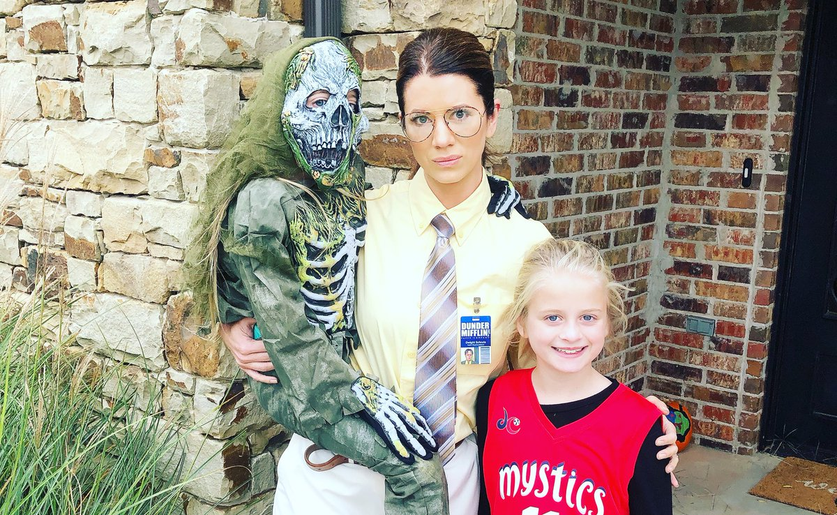 Please tell me you'd open the door to our crew?!😜Happy Halloween from my zombie skeleton, Dwight Schrute and Elena Delle Donne. #halloween2018