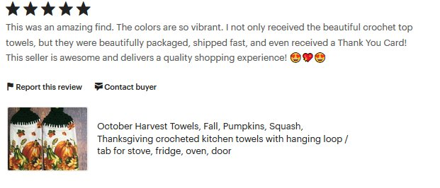 RT @SimplyByCindy: #EtsyTeamUNITY #KISTEAM #HolidayTowels #Autumn  review and receipt by happy customer https://t.co/tsRKnNP8YU